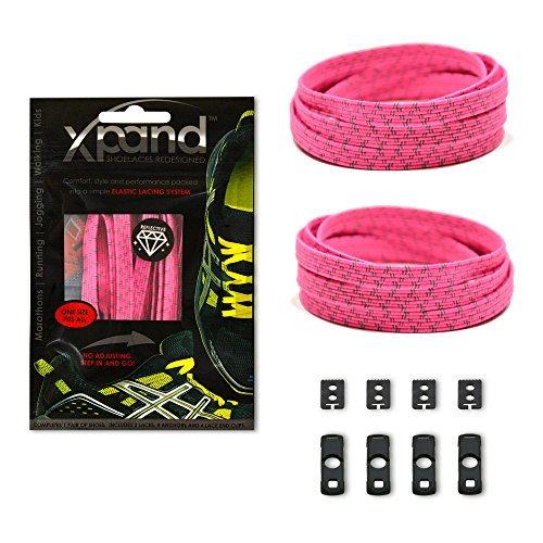 Xpand No Tie Shoelaces System with Reflective Elastic Laces - Neon Pink - One Size Fits All Adult and Kids Shoes -