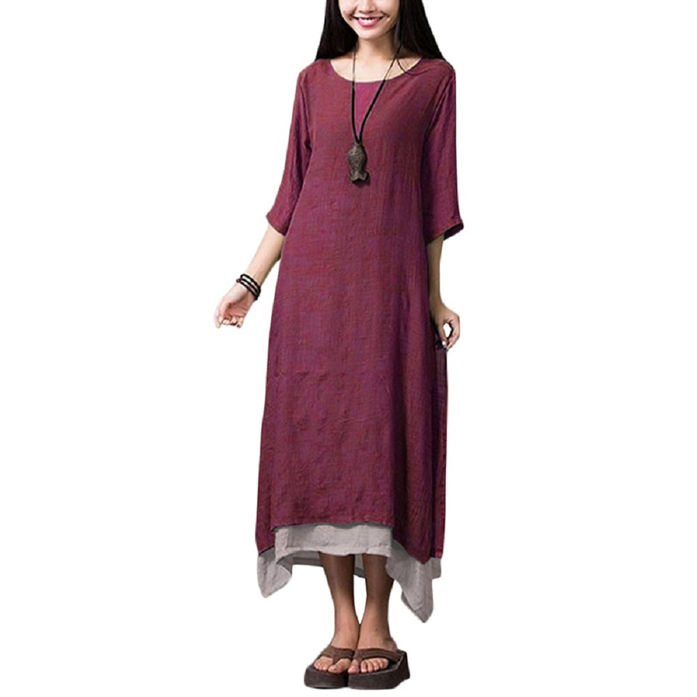 Romacci Women Casual Maxi Dress Vintage Chinese Style Loose Boho Long Dress (XL, Burgundy)