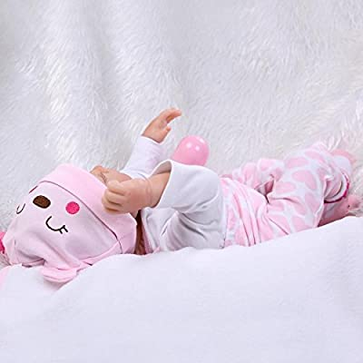 Nicery Reborn Baby Doll Soft Simulation Silicone Vinyl Cloth Body 18 inch 45 cm Magnetic Mouth Lifelike Boy Girl Toy for Ages 3+ Pink White Eyes Close C075S: Toys & Games
