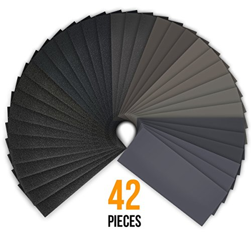 42 Sheets, 120 to 3000 Grit Dry / Wet Sandpaper Assortment, Waterproof Abrasive Sand Paper Assorted for Wood Metal Automotive Sanding, Furniture Turning Finishing, 9 x 3.6 Inch