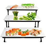 3 Tier Rectangular Serving Platter- Three Tiered Cake Tray Stand- Food Server Display Plate Rack For Finger Food, Appetizers, Treats And More by Perlli