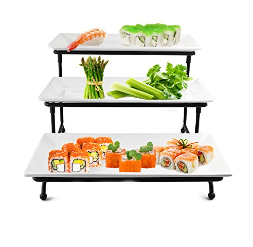 Melamine Porcelain Platter (3 Tier Rectangular Serving Platter- Three Tiered Cake Tray Stand- Food Server Display Plate Rack For Finger Food, Appetizers, Treats And More by Perlli)