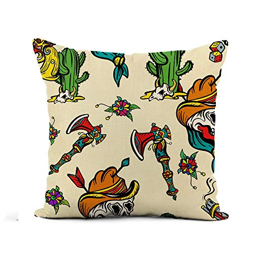 Awowee Flax Throw Pillow Cover Wild West Old School Tattoo Western Cowboy Cactus Guns 20x20 Inches Pillowcase Home Decor Square Cotton Linen Pillow Case Cushion Cover]()