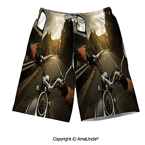 - Casual Style Swim Trunks Boardshorts,Rider Driving a Chopper on Asphalt Road wit