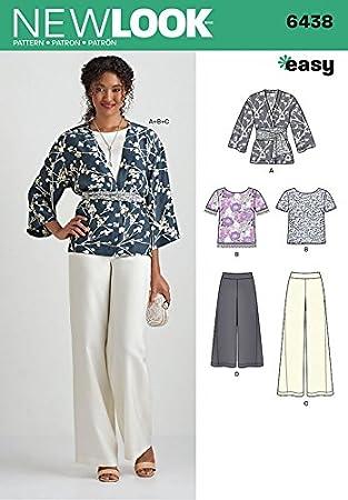 New Look Damen Schnittmuster 6438 Tops, Kimono und Hosen + Gratis ...