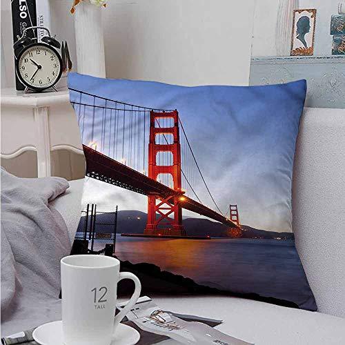 Fbdace Soft Microfiber Throw Pillowcase Set Cityscape San Francisco Bridge for Sofa Bedroom Car 18 X 18 Inch (Stores Francisco Sofa San)