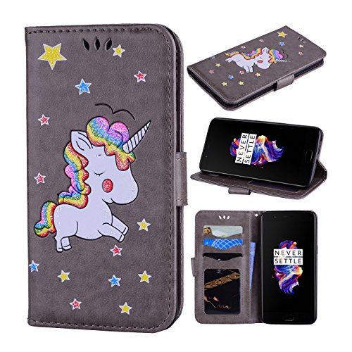 Price comparison product image OnePlus 5 Case, Ranyi [3D Glitter Unicorn Embossed] [Flip Magnetic Wallet] [3 Card Slot] [Kickstand Feature] Cute Bling PU Leather Folio Wallet Case for OnePlus 5 (2017 Release), grey