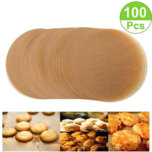 Unbleached Parchment Paper Cookie Baking Sheets,10 Inch Premium Brown Parchment Paper Liners for Round Cake Pans Circle,Non-stick Air Fryer Liners,100 ()
