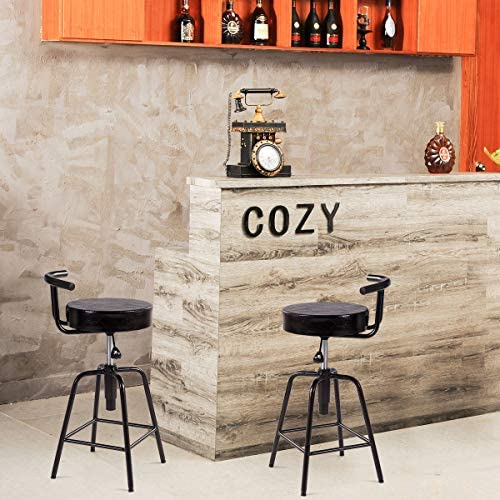 COSTWAY Bar Stool, Adjustable Swivel PU Leather Covered Cushion, Powder Coated Iron Frames, with Square Footrest, Universal Shackles, for Home, Cafe and Bar, Black 2 Stools, Square Footrest
