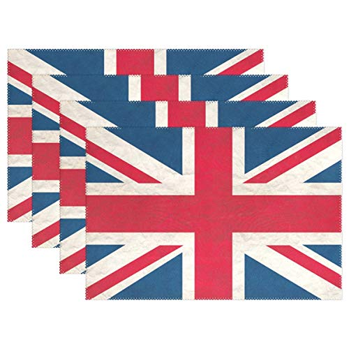 XiangHeFu Placemats UK Flag 12x18 inch Set of 6 Non Slip Heat Resistant Dinning Table (Uk Rattan Placemats)