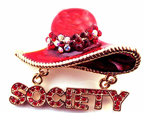 Red Hat Society Enamel & Crystal Brooch  - Red Hat Necklace Shopping Results