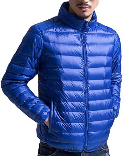 EKU Men's Fashion Light Zipper Packable Puffer Down Jacket Coat US XL Royal Blue