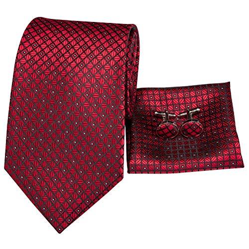 (Hi-Tie Men Red Check Plaid Tie Cufflinks and Pocket Square Tie Set for Men)