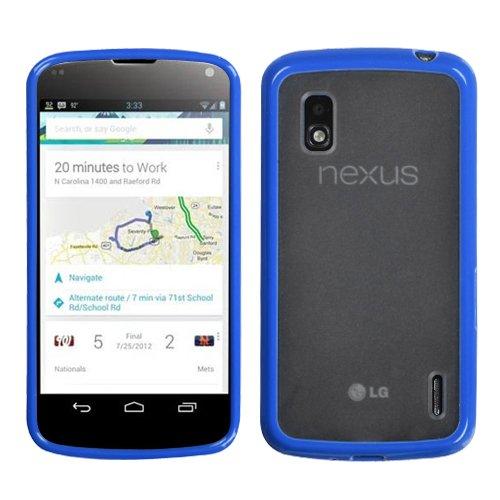 (MyBat Transparent Clear/Dark Blue Gummy Cover for LG E960 (Nexus 4) - Retail Packaging - Blue/Clear)