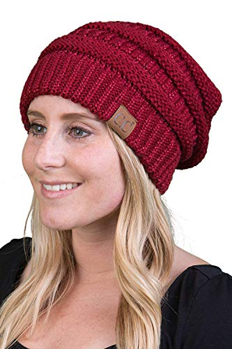 H-6020a-9064 Funky Junque Solid Ribbed Beanie - Burgundy ()