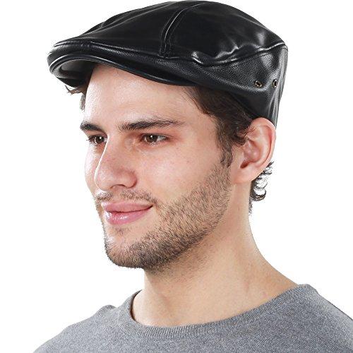 KBW-312 BLK L/XL PU Leather Classic Ascot Ivy Newsboy Hat