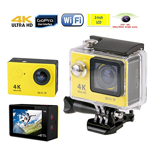 Efanr 12MP Action Camera 2 Inches Ultra Full HD 4K 1080P WIFI Waterproof Sport Cam 170 Degree Wide Angle Lens with SONY Sensor Selfie Accessories (Yellow)