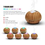 350ml Aroma Oil Diffuser Euow Ultrasonic Cool Mist Humidifier Purifies Air -Wood Grain With 7 Colors LED Light for Office Bedroom Room Study Yoga Spa