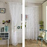 Kinlo 1-Piece Sheer Curtains 58 X 96-Inch Lace Curtains White Window Grommet Curtains for Living Room