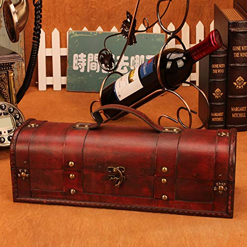 1 Bottle Wooden Red Wine Box Anniversary Ceremony Couples Wedding Wine Gift Box Holder Vintage Wine Case With Handle Wood and Faux Leather Antique Finish by Meltset (Image #2)