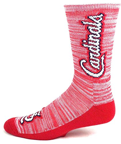 (For Bare Feet MLB St. Louis Cardinals Red RMC Crew Socks Solid Red Bottom - Size Large )