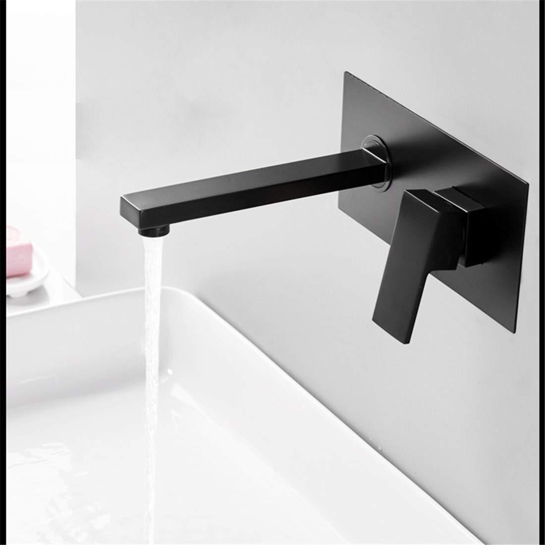 Retro Plattiert Heiß Und Kalt Wasserhahn Wasserhahnluxuxmattschwarzes Badezimmer-Hahn-Becken-Wannen-Hahn Wand Angebracht