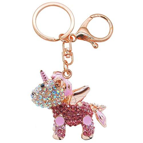 Cartoon Keychain - SECHO Pink Keychain for Girls Gifts Cute Cartoon Animal Crystal Keychain Handbag Pendant In Car Rhinestone Mini Charm Best Christmas Birthday Gift for Girls (Pink)