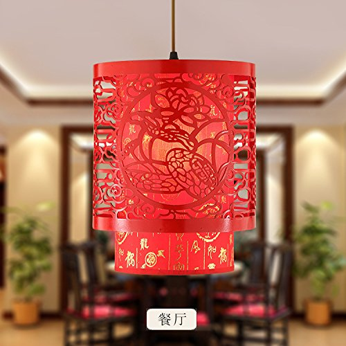 - CLG-FLY Modern new Chinese style small chandelier restaurant, single head chandelier, antique wooden corridor,30×40CM without light source