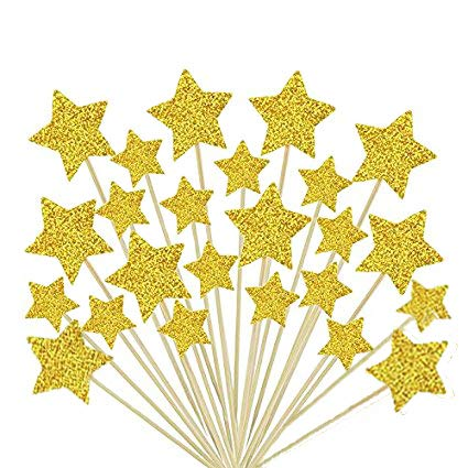 Laviee 60 PCS Cupcake Toppers Gold Star Cake Toppers for Wedding Birthday Baby Shower Party Valentines Day Decoration