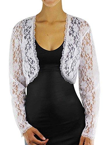 502af82d8f Long Sleeve Dressy Lace Cropped Bolero Shrug Jacket