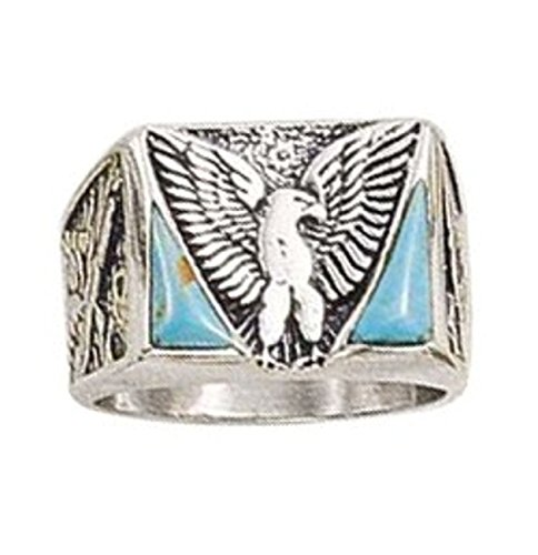 Sterling Silver Mens Unisex Simulated Turquoise Eagle Ring Size 9