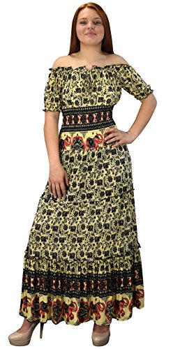 Peach Couture Gypsy Boho Floral Printed Smocked Waist Tiered Renaissance Maxi Dress Black Yellow Large