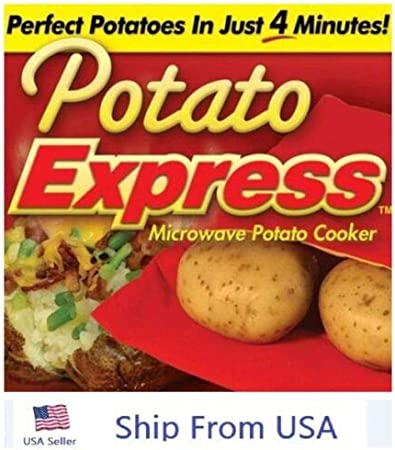 Potato Express Microwave Cooker Bags 4 Minutes Fast Reusable Washable 2 Pack US