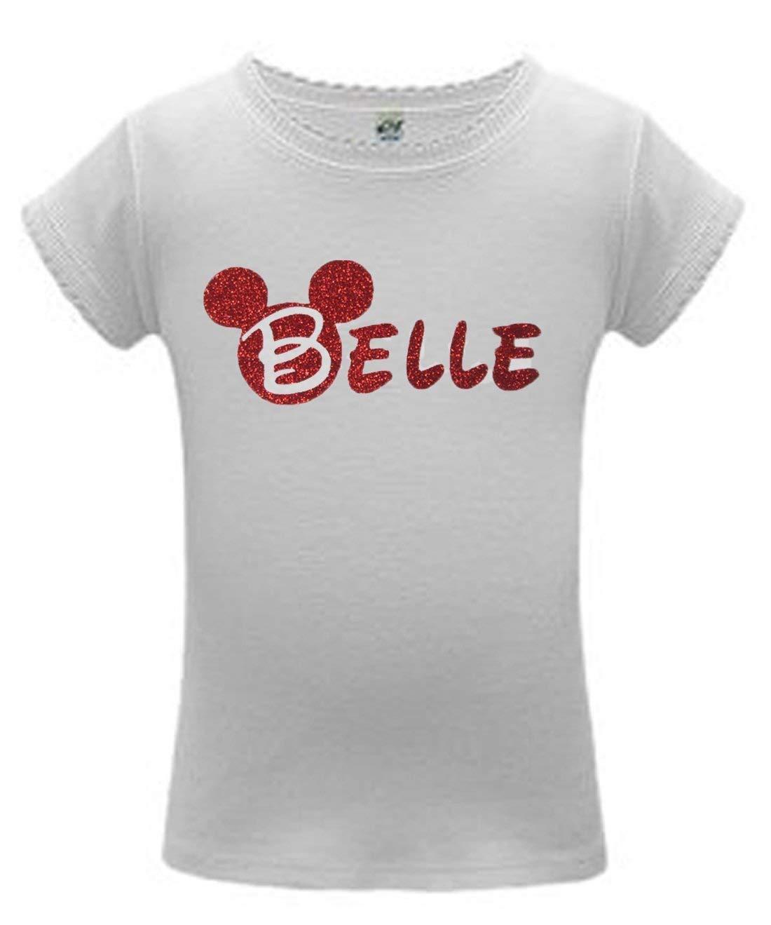a534410bd Amazon.com: Pink Glitter Disney Custom Name Shirt - Mickey Minnie: Handmade