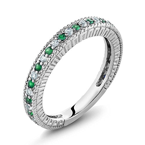 Gem Stone King Sterling Silver Green Simulated Emerald & White Created Sapphire Women's Anniversary Wedding Band Ring (Size 9)
