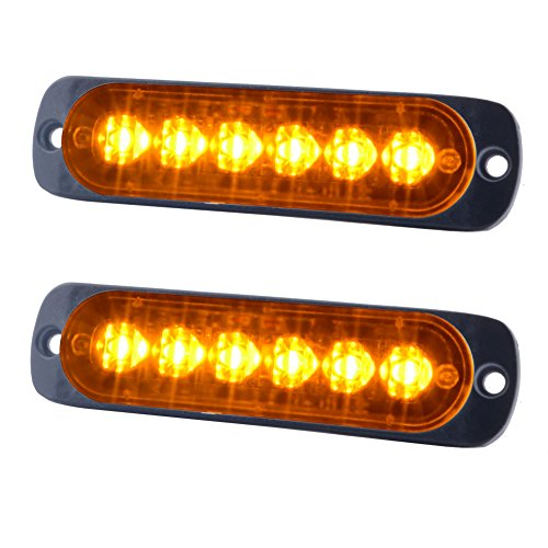 WOWTOU Amber Warning Light Head, Surface Mounts Grilles Mini Strobe Light Bar 6W 6 LEDs 18 Patterns for POV, Utility Vehicle, Construction Vehicle, Tow Truck Van, etc. (2 - 2 Bars Light Strobe Mini