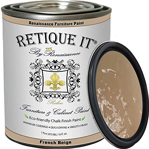 Retique It Chalk Furniture Paint by Renaissance DIY, 16 oz (Pint), 12 FrenchBeige