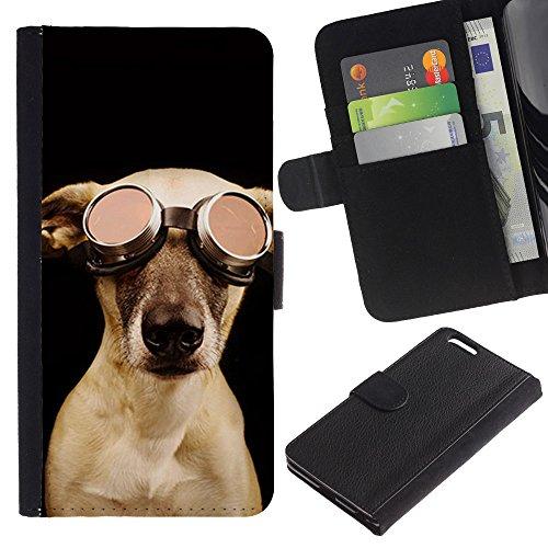 EuroCase - Apple Iphone 6 PLUS 5.5 - pilot dog goober cute art photo - Cuero PU Delgado caso cubierta Shell Armor Funda Case Cover