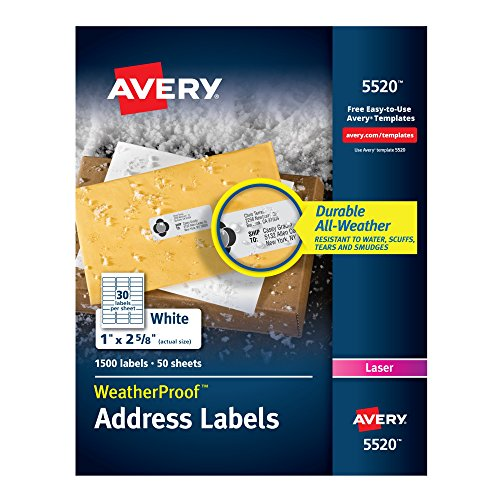 Avery WeatherProof Mailing Labels with TrueBlock Technology for Laser Printers 1'' x 2-5/8'', Box of 1,500 (5520) by Avery