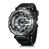 Men's Sport Watch Chronograph #A2801 by IXHIM – Multifunctional, Dual Digital & Analog Time Display Casual Outdoor Watch - Racing Design - 100m 330 ft Water Resistant - Black PU Band (Grey)