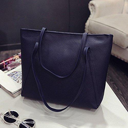 Bag Shoulder Blue Leather PU Handbag Tote Women's Crossbody Sling Retro Large qwC7tx4