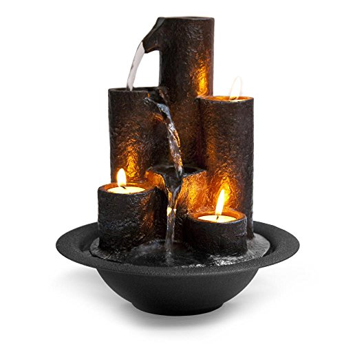 SereneLife Tiered Column Tabletop Water Fountain, With 3 Candles and River Rocks
