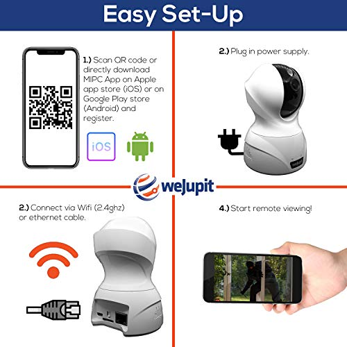 Security Camera Full HD 1080P WiFi Baby/Pet/Home Monitor - weJupit Wireless Indoor Pan/Tilt/Zoom IP Camera, Motion Detection, Two-Way Audio, Night Vision - Cloud Storage