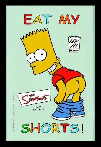 Empire Merchandising 538239 Printed Mirror with Plastic Frame with Wood Effect Featuring The Simpsons Bart