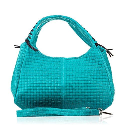 31 cuir Artegiani à nbsp;x avec pour géométriqueNoir en Sac Firenze tressé véritable motif Turquoise femme nbsp;cm main 25 nbsp;x 17 xOqd1Bwwp0