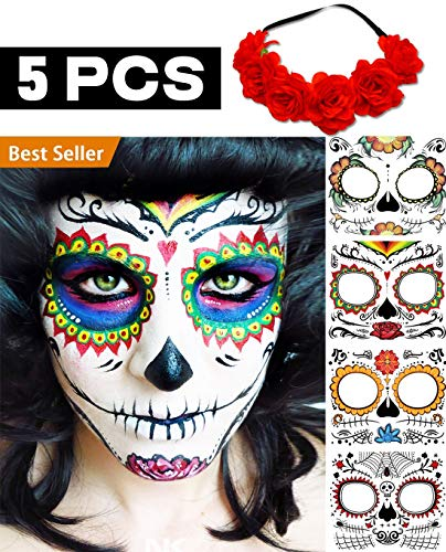 (BenRan 5PCS Day Of The Dead/Dia De Los Muertos Costume Mask For Women/Man/Girls/Kids Sugar Skull Temporary Face Tattoos Party Makeup Decorations 4 Tattoo Kits,With A Bunch Of Red Flower)
