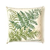 Dryopteris Needlepoint Kit by Elizabeth Bradley. A premium English needlepoint pillow project on a Winter White background with 100% wool yarns. Shade Garden Collection.