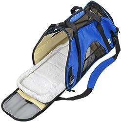 TravelDog Pet Carrier Mesh Ventilation - Soft Washable Fleece Bed - Cat or Dog Tote Travel Bag - Small (Blue)