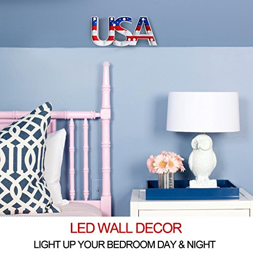 """Bright Zeal 7\"""" Tall USA LED Marquee Sign Letters (6hr Timer) -Marquee Letters with Lights Patriotic Decorations for the Home Decor -Lighted Sign Letters Old Glory Decor -Independence Day Decorations"""