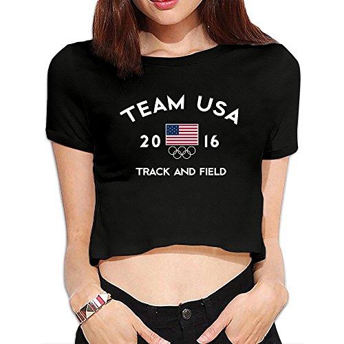 Team USA Track And Field Rio 2016 Women's Black Crop Tops Outfits T Shirts (Janeiro Top Rio De Track)